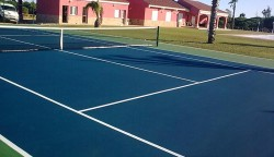 synthetic surface of tennis court